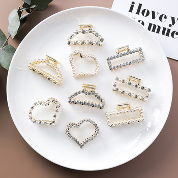 MENGJIQIAO Korean 2019 Hair Jewelry Simulated Pearl Claws Rhinestone Hairclips Bridal Wedding Accessories Headwear