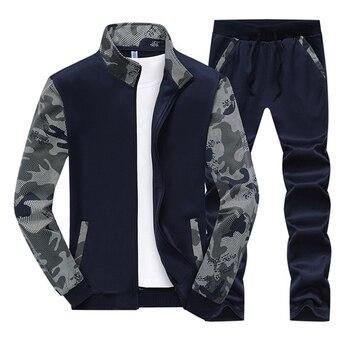 men's sportswear Spring Men Set Quality Fleece Sweatshirt +Pants Male Tracksuit Sporting Sweat Suits Mens Survetement Sportswear цена 2017