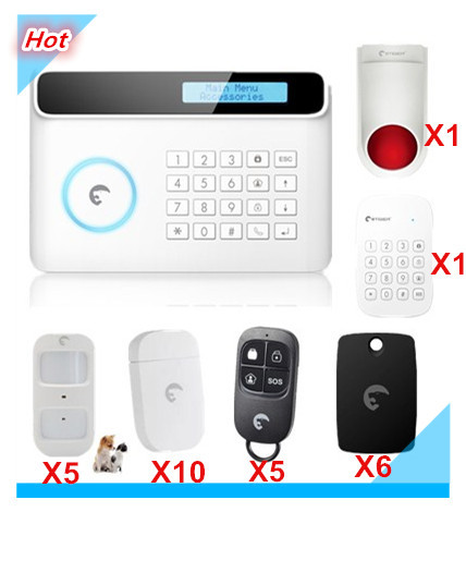 LCD Display 433Mhz Etiger Wireless GSM Alarm System Smart Safe Home Smart Security Alarm system with RFID reading wireless pager system 433 92mhz wireless restaurant table buzzer with monitor and watch receiver 3 display 42 call button