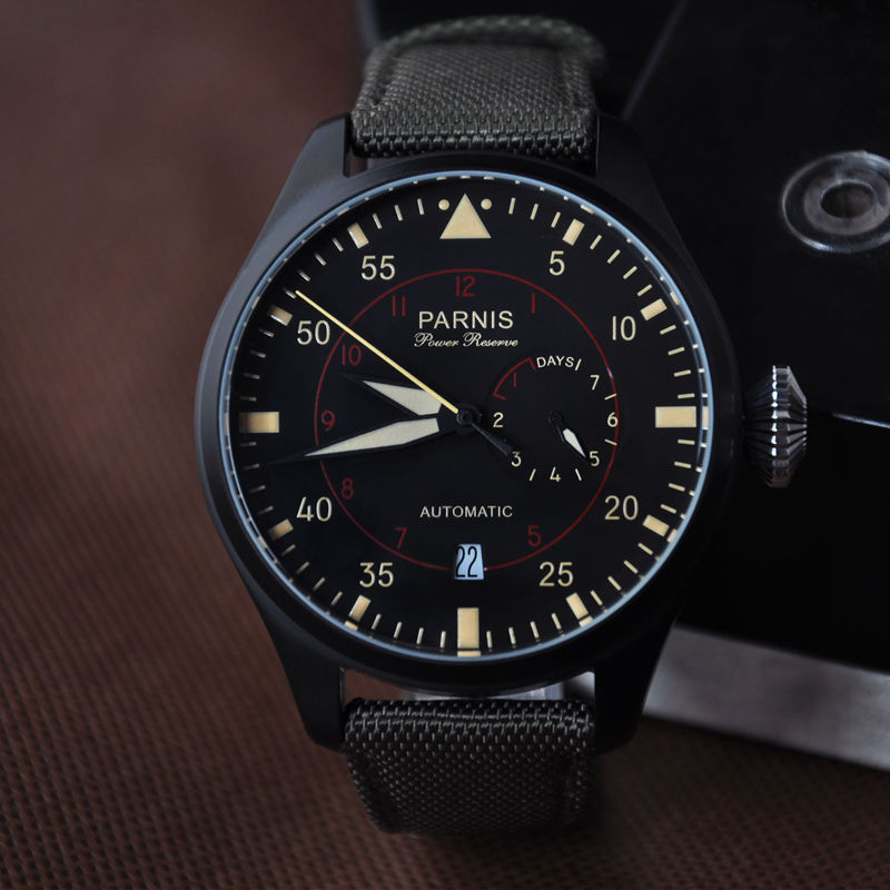 47mm Parnis Power Reserve PVD Case Luminous Marks Automatic Mens Watch 47mm parnis power reserve brushed case yellow numbers automatic men