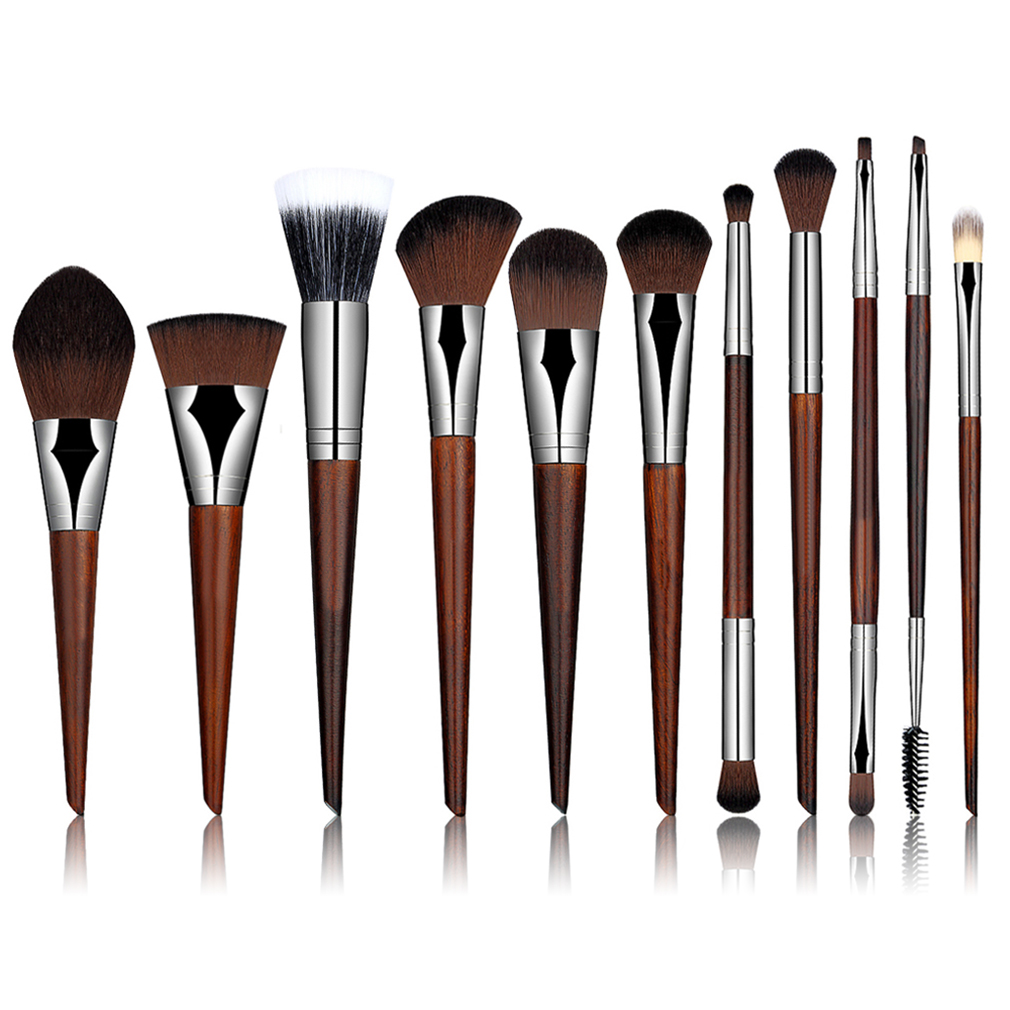 11 Pcs/Set Professional Rosewood Makeup Cosmetic Brushes Tools Set Eye Shadow Powder Foundation Cosmetic Brushes Best Selling