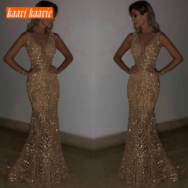 Us 39 0 Sexy Gold Mermaid Long Prom Dresses 2018 Silver Prom Dress Women Party Boho V Neck Embroidery Lace Backless Cheap Evening Gowns In Prom
