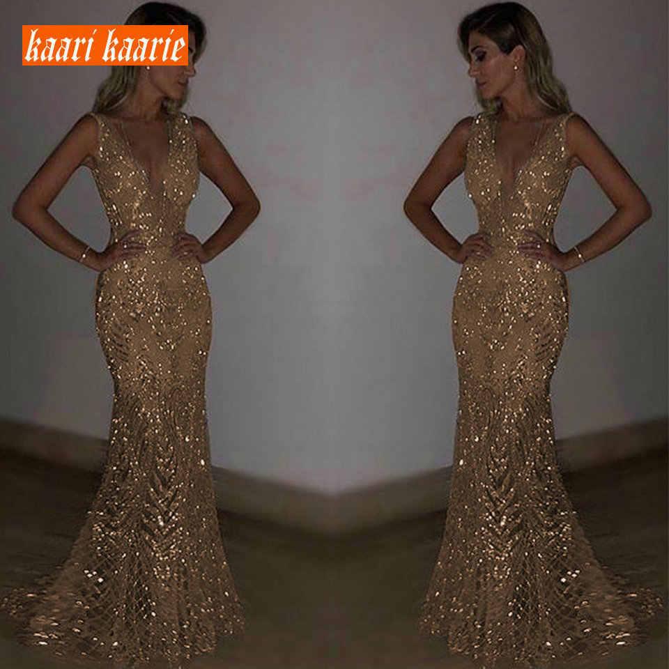 4369da0b73fc Sexy Gold Mermaid Long Prom Dresses 2018 Silver Prom Dress Women Party Boho  V-Neck