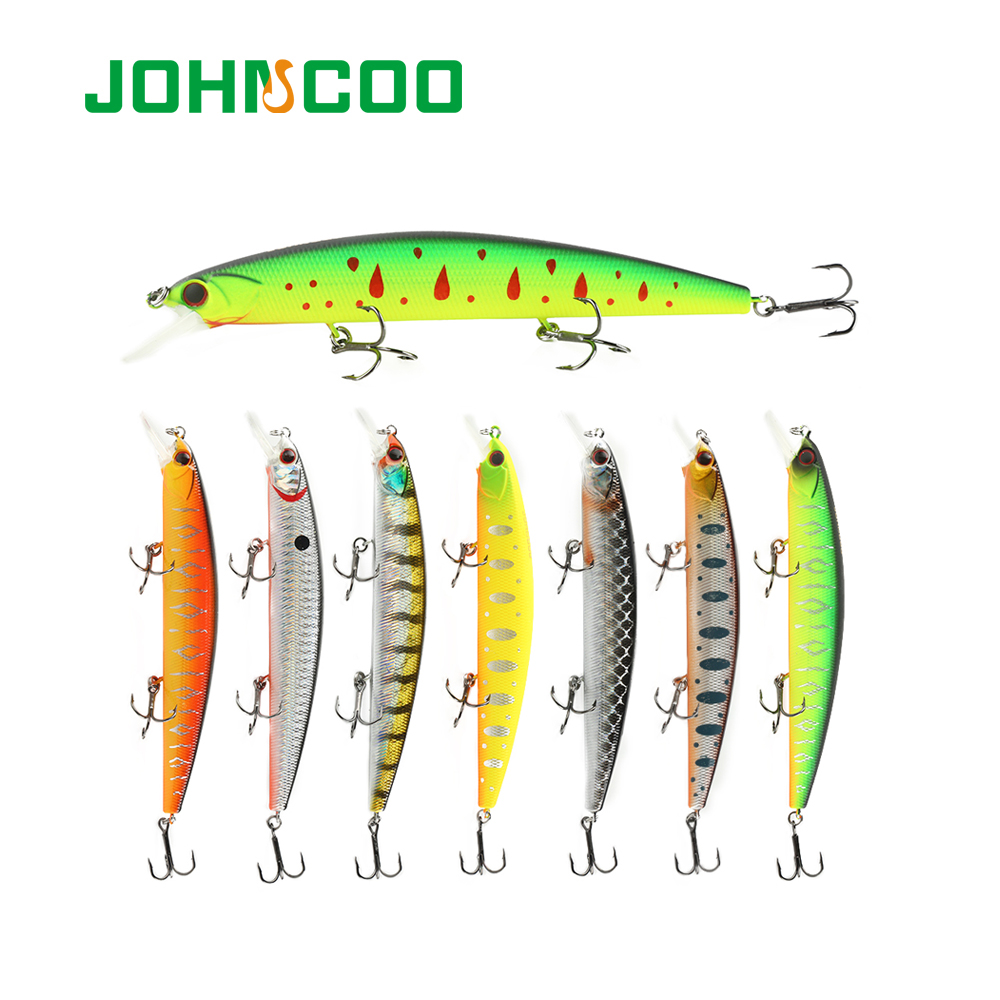 JOHNCOO 130mm 20g Rudra Hard Fishing Lure Minnow Bait Artificial Bait Lure Swimbait Wobbler with 3 High Quality Hooks
