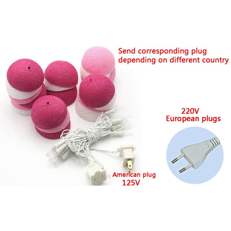 20 stk. Pink Cotton Ball Light Fairy Bryllup Fødselsdagsfest - Ferie belysning - Bilde 4