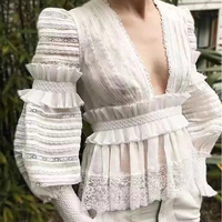 2019 ZIM Designer Runway Blouse Women Vintage V Neck Lace Patchwork Ruffles Long Sleeve Shirt Female Sexy Tops