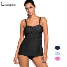a42478f574 Women Swimwear Tankini Large Plus size Swimsuit 2018 Female Bathing Suit  Split Two Piece Bikini Set Beach Sport Black Blue Red