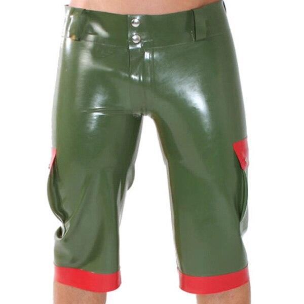 Army Green Latex Uniform Short Pants Latex Rubber Breeches For Men