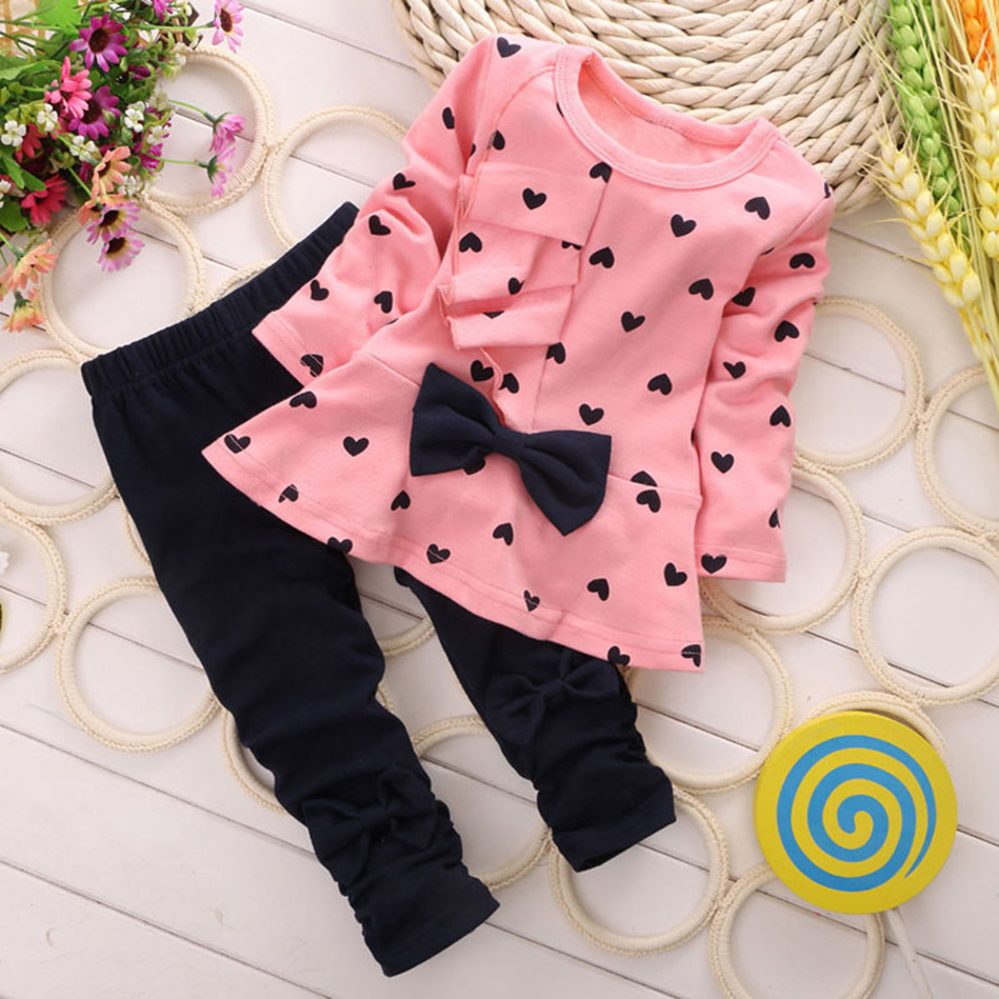 Baby Toddler Girls Clothing Sets Spring Autumn Baby Girl Clothes T-shirt+Pant Outfit Kids Tracksuit Children for 1 2 3 4 Years