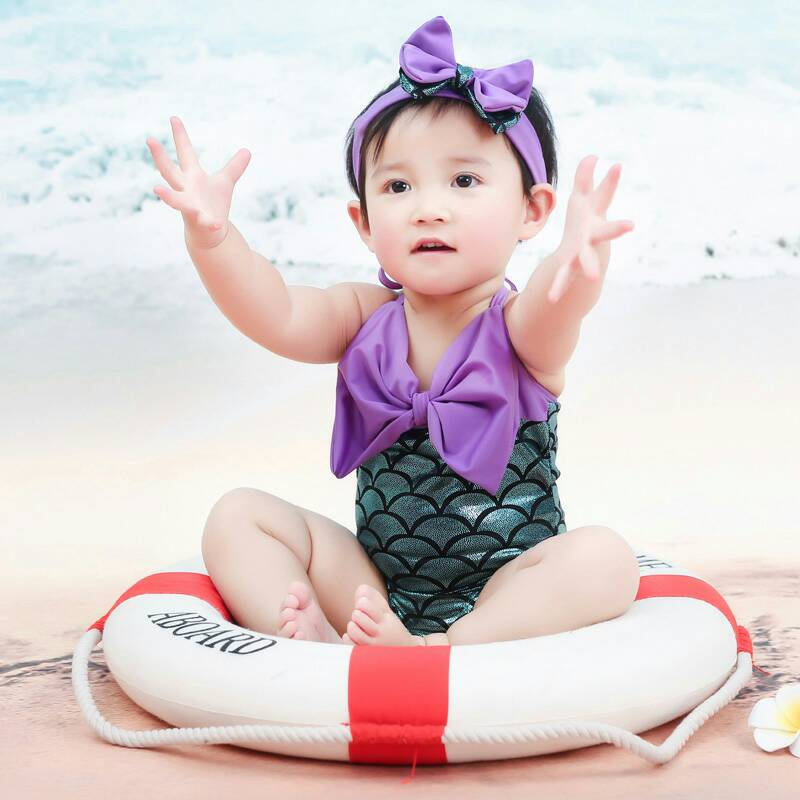 Mermaid tail swimsuit girl south childrens swimsuit princess conjoined baby baby bathing suit