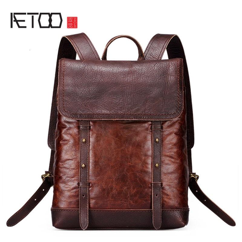 AETOO New leather shoulder bag men retro fashion shoulder bag casual backpack male tide