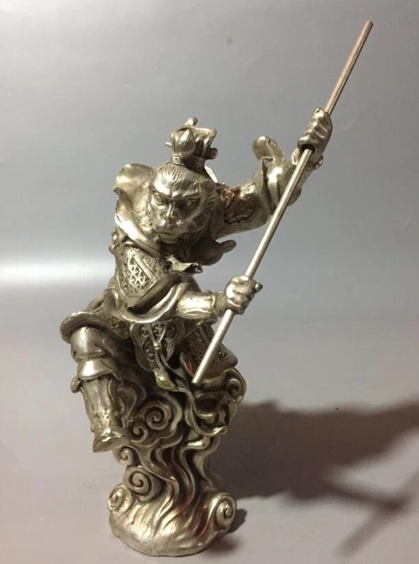 Collection archaize white copper Monkey King crafts statue