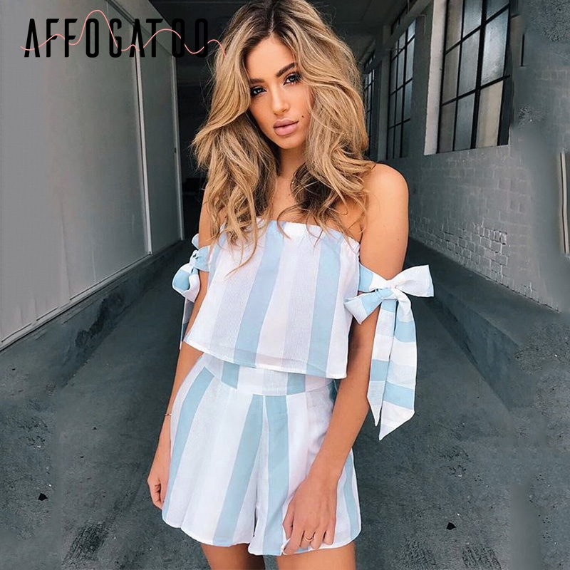 Affogatoo Blue striped bow sleeve sexy   jumpsuits   romper Off shoulder beach summer   jumpsuit   women Casual two-piece short playsuit