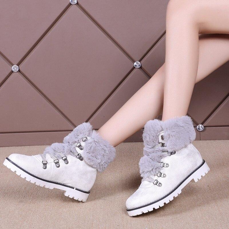Piel Mujer marrón Nieve Mujeres Cómodo Lana Felpa De Casual 2019 Invierno Velver Botas blanco Negro Nueva Zapatillas Zapatos wqYfxzg