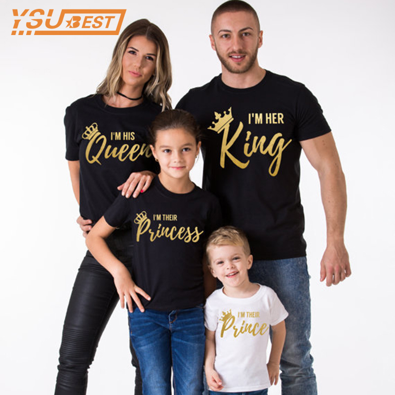 2019 Summer Matching Family Clothes Casual Solid Short Sleeve Cotton T-shirt King Queen Couples T shirt Crown Printed Funny Tops2019 Summer Matching Family Clothes Casual Solid Short Sleeve Cotton T-shirt King Queen Couples T shirt Crown Printed Funny Tops