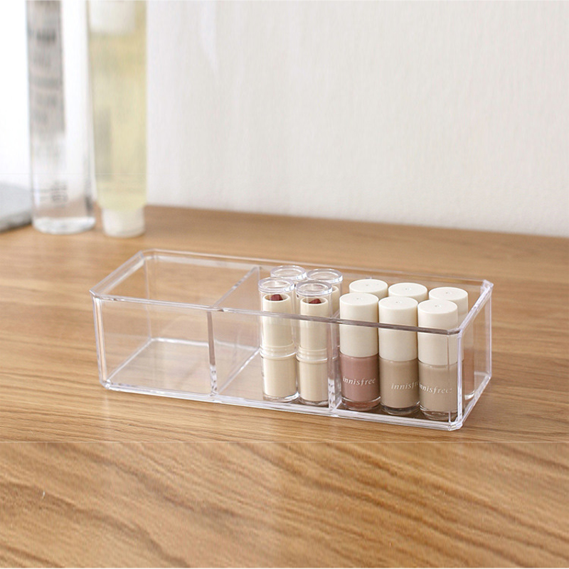 Clear Acrylic 3 Compartments Makeup Bathroom Storage Tray Makeup Organizer Cosmetic Holder With
