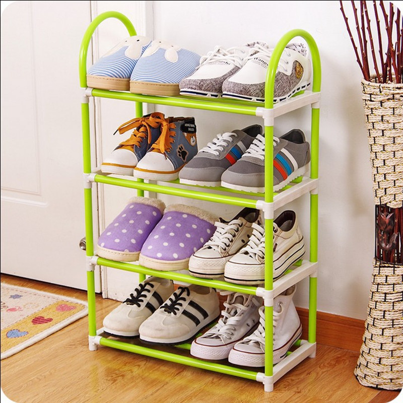 Simple 4 layers Shoe Rack Plastic parts Steel Pipe Shoes Shelf Easy Assembled Storage Organizer Stand Living Room Furniture shoes shelf easy assembled light plastic multilayer shoe rack storage organizer stand holder living room furniture shoe cabinet