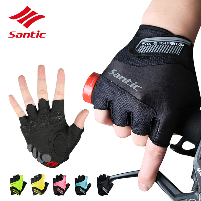 Santic Cycling Gloves Men Women Bicycle Gloves Half Finger Pro Gel Padded DH Black Bike Gloves Guantes Luvas Ciclismo