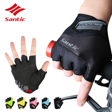 Santic Cycling Gloves Men Women MTB Road Bicycle Gloves Half Finger Pro Gel Padded DH Black Bike Gloves Guantes Luvas Ciclismo
