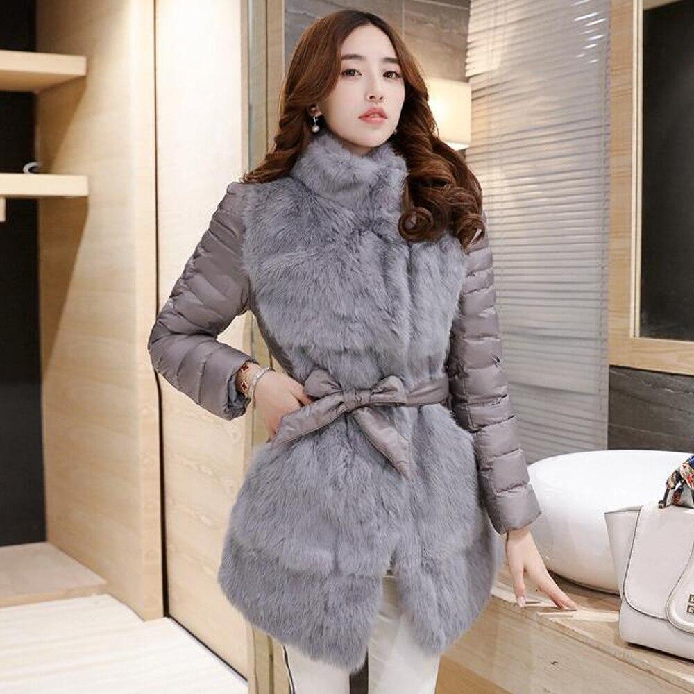 Ceinture Avec Montage grey Lapin Couture 100 Rembourrage Veste Sr240 De Manteau Double Bon Chaud Grand Fourrure Réel Black AqCwAH07