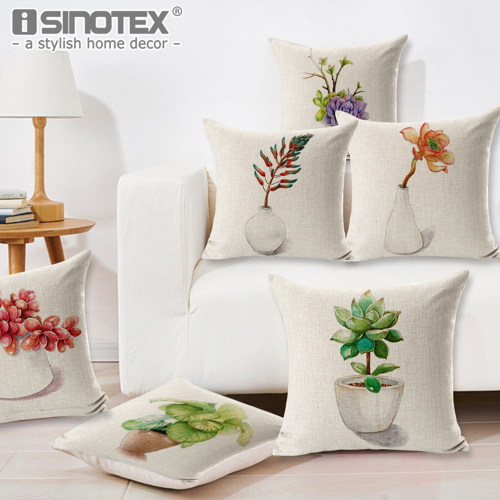 Multi Floral Printed Succulent Plants Style 45x45cm Cushion Cover Pillowcase Home Sofa Car Decorative Throw Pillow Case Decor