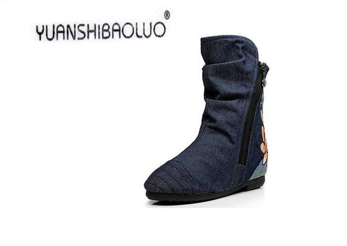Embroidered cloth shoes women fall flat cowboy boots fashion short with Martin female in the round head