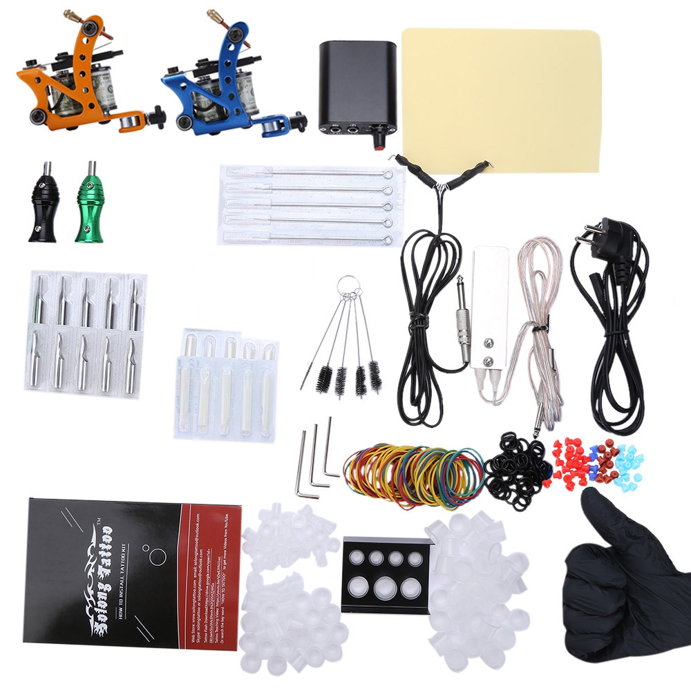 Solong Complete Tattoo Kit Power Supply 2 Top Machine Guns Professional Body Painting Sets Kit for Beginner p80 panasonic super high cost complete air cutter torches torch head body straigh machine arc starting 12foot