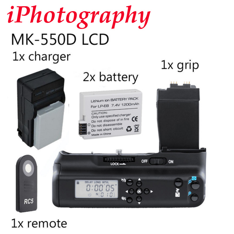 Meike MK-550DL Battery Grip with lcd For Canon 550D 600D 650D 700D BG-E8 + 2x LP-E8 battery