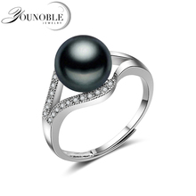 Wedding Real 925 sterling silver ring with pearl,white best gift fashion adjustable black freshwater pearl ring women