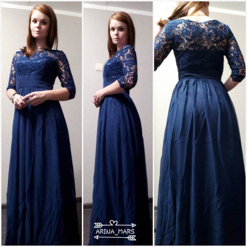 Tanpell long evening dresses dark navy lace 3/4 length sleeves a ...