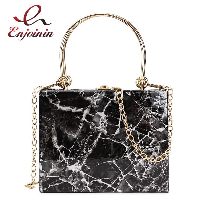 Marble Fashion Printing Box Style Metal Handle Pu Leather Female Shoulder  Bag Handbag Party Purse Crossbody 791d03a3ad14