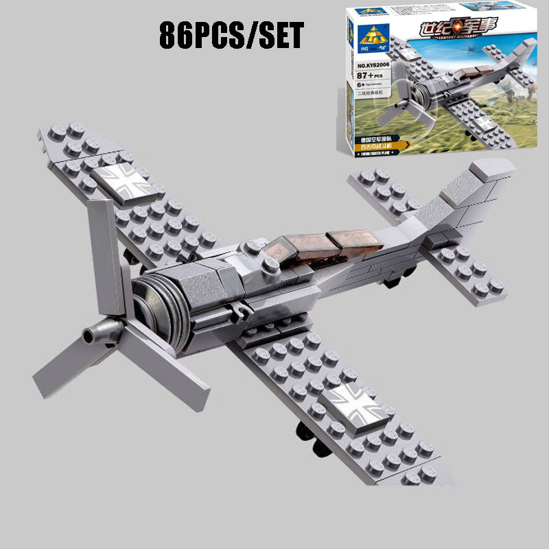 New WW2 Classic Military German Fighter Vehicle Focke-Wulf 190 Fighter Model Building Block Bricks Educational Toy For Kids Gift 548pcs military ww2 german panzer iii tank ausfl primary battle tank model building block assembly toy for kid christmans gift