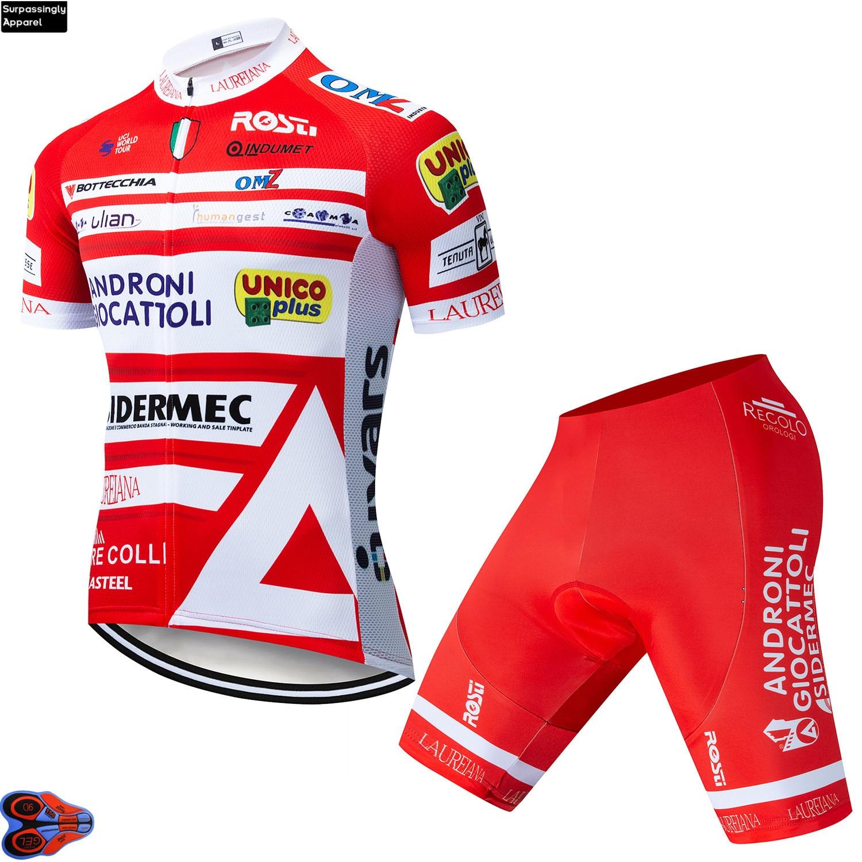 2019 Men's Cycling Jersey ANDRONI Maillot Ciclismo Short Sleeve And Cycling Bib Shorts Cycling Kits Summer Outdoor Cycling Set