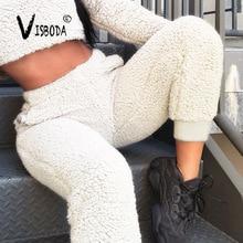 Loose Thick Fleece Warm Harem Pants Women Winter Fashion Ladies White Soft Velvet Trousers High Waist Pants Plus Size Femme