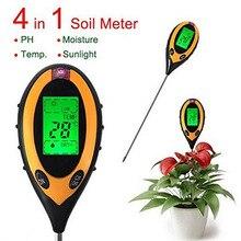 4 в 1 Цифровой измеритель PH влажности почвы температура монитора Солнечный свет тестер для садовые растения сельского хозяйства с ЖК-дисплеем