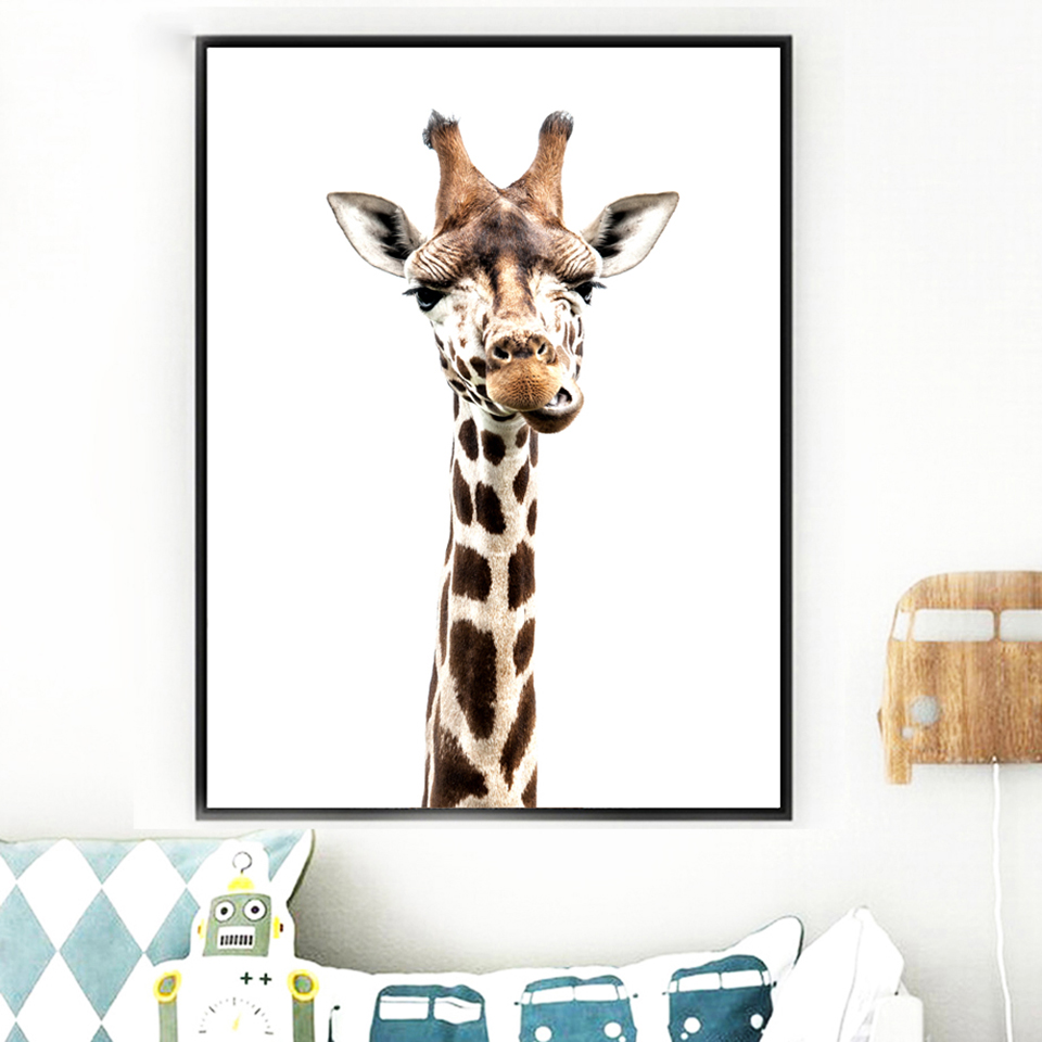 HTB12CtaKHPpK1RjSZFFq6y5PpXaV Canvas Printed Poster Home Decorative Animal Giraffe Quotes Nordic Poster Painting Wall Artwork Pictures Living Room Modular