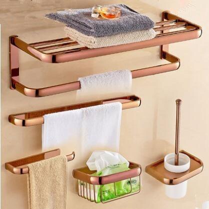 Free Shipping,brass Bathroom Accessories Set, Rose Gold Hook,Paper Holder,Towel Bar,Soap Basket,Towel Rack Bathroom Hardware Set