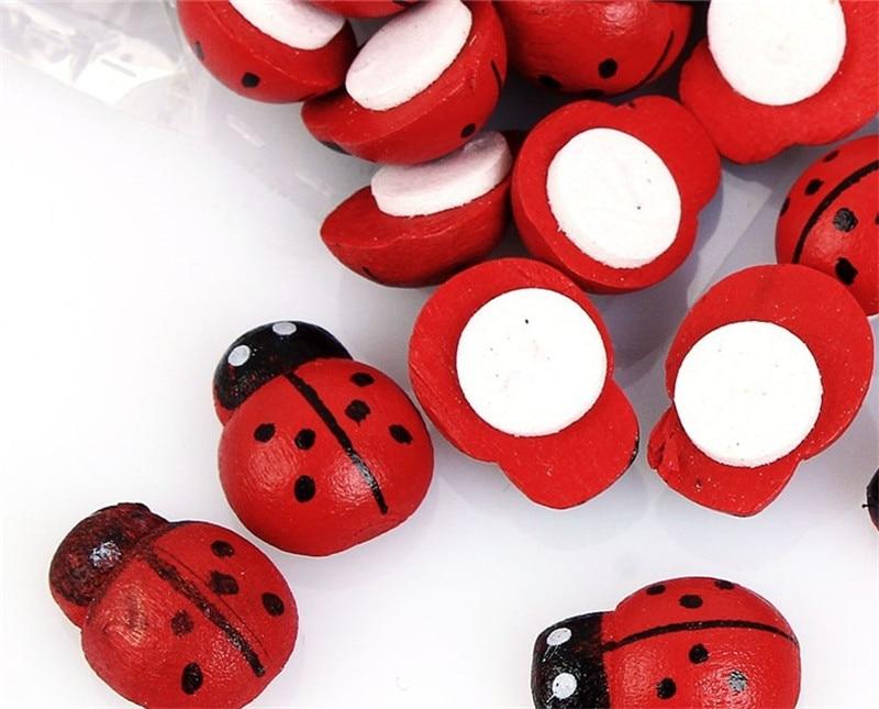 100pcs Stickers Wood Ladybug Ladybird Sticker Miniature Landscape Pots Decorative Crafts Small Wooden Beetles