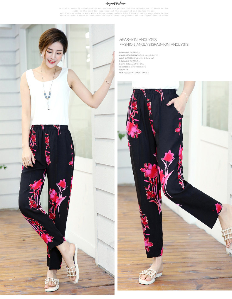 HTB12CtqSFzqK1RjSZFCq6zbxVXaB - 22 Colors Women Summer Casual Pencil Pants XL-5XL Plus Size High Waist Pants Printed Elastic Waist Middle Aged Women Pants