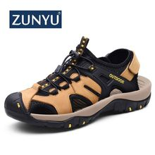 ZUNYU New Men Genuine Leather Men Roman Sandals Soft Fisherman Summer Casual