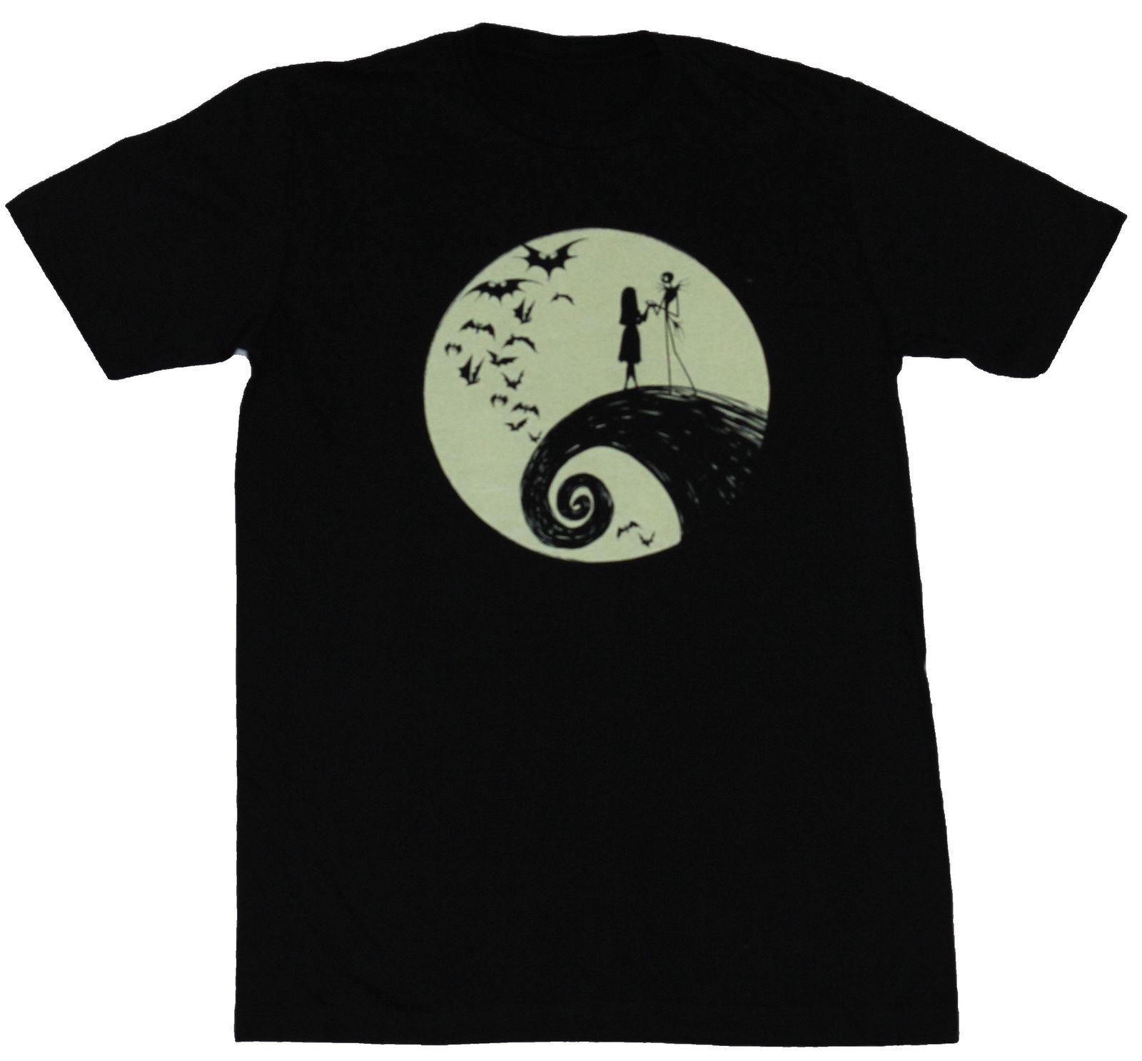 Nightmare Before Christmas Mens T Shirt Moonlit Jack & Sally ...