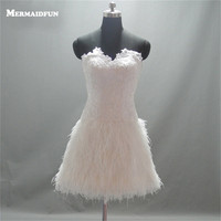 2017 Real Photos A Line Sweetheart Feather Short Wedding Dresses Lace Up Back Wedding Dress Short