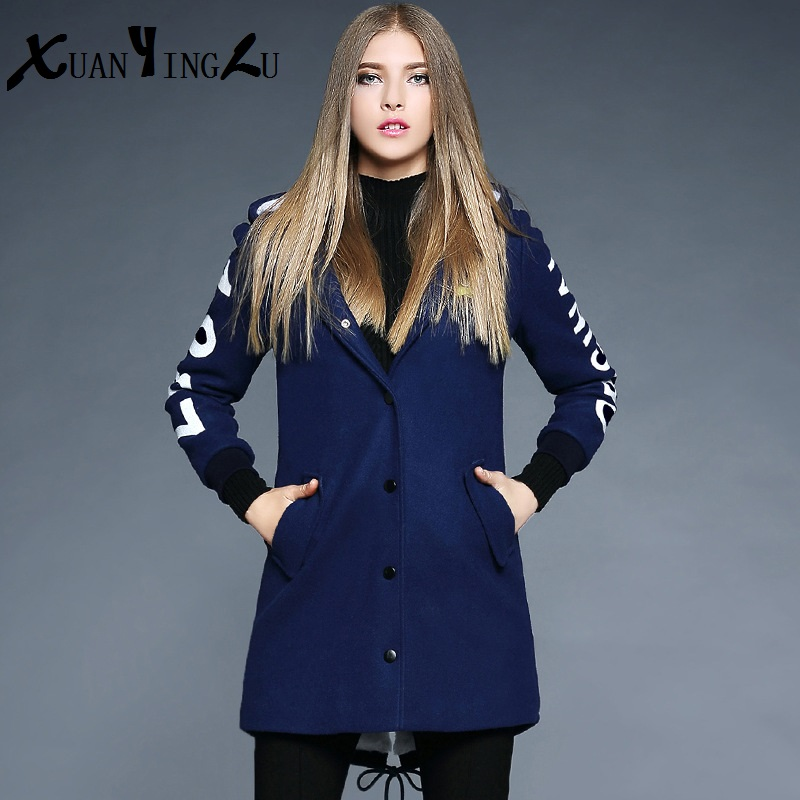ФОТО XUANYINGLU 2016  Winter Down Coat High-end fashion brand Long sleeves With cap Thick Letter Long section Embroidery Parka Women