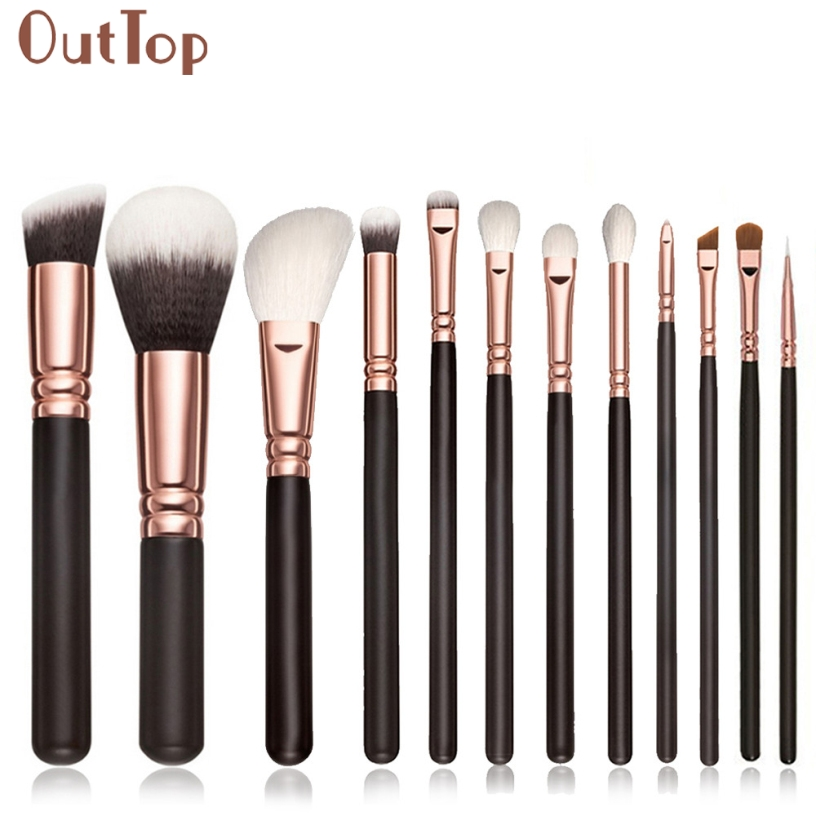 Best Deal OutTop Fashion Women 12pcs Pro Cosmetic Makeup Brush Black Wood Handle Blusher Foundation Brushes Set Kit Gift 1 Set outtop best deal new good quality pink colour sponge puff 24 pcs cosmetic makeup brushes foundation brushes tool 1 set