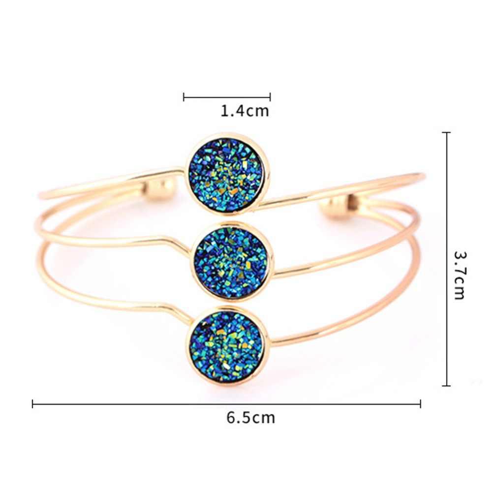 Nowy kryształ wielowarstwowe mankiet bransoletki miedziane bransoletki dla kobiet regulowany otwarty biżuteria ze stali nierdzewnej bransoletka Pulseiras #275198