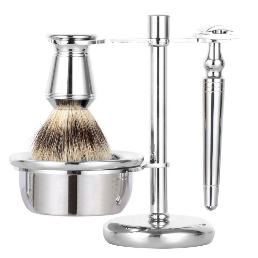 ZY 4pcs/set Safety Razor Shaving Razor Double Edge Long Handle+Badger Shaving Brush +Stand Holder + Men Shave Soap Bowl Mug grandslam 3pcs set man double edge safety razor shaving razor set long handle badger shaving brush stand holder wet shave tool
