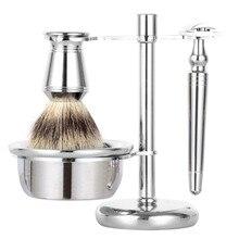 ZY 4 unids/set Safety Razor máquina de afeitar borde doble mango largo + brocha de afeitar del tejón + sostenedor del soporte + jabón de afeitar taza tazón