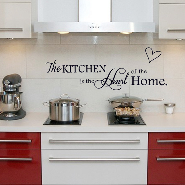 US $1.1 20% OFF|The Kitchen Is The Heart Of The Home English alphabet Black  DIY Removable Wall Stickers Kitchen Home Decor Mural Decal -in Wall ...