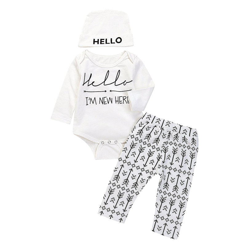 free shipping Baby Boy Letters Romper Bodysuit Arrow Long Pant With Hat Autumn Winter Playsuit Clothes Set ship from USA