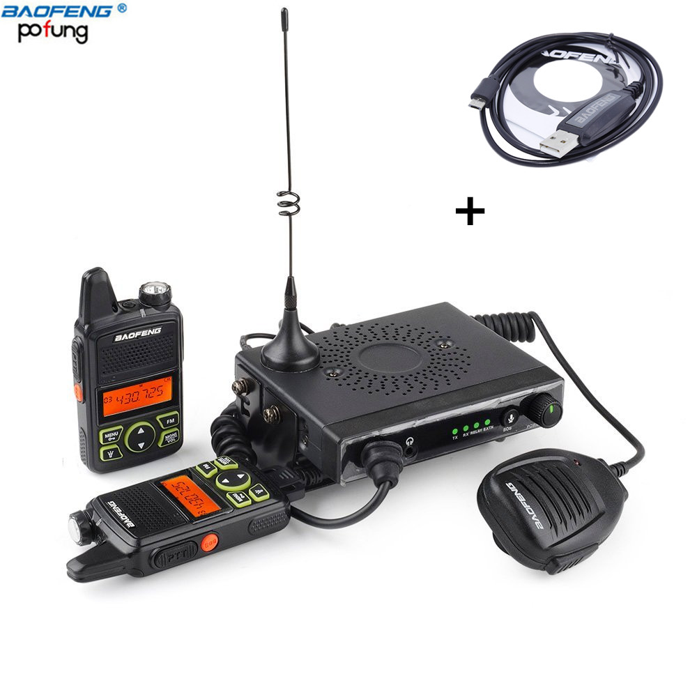 Baofeng Mini one 15W UHF 400 470mhz mobile car radio with 2 pcs portable walkie talkie
